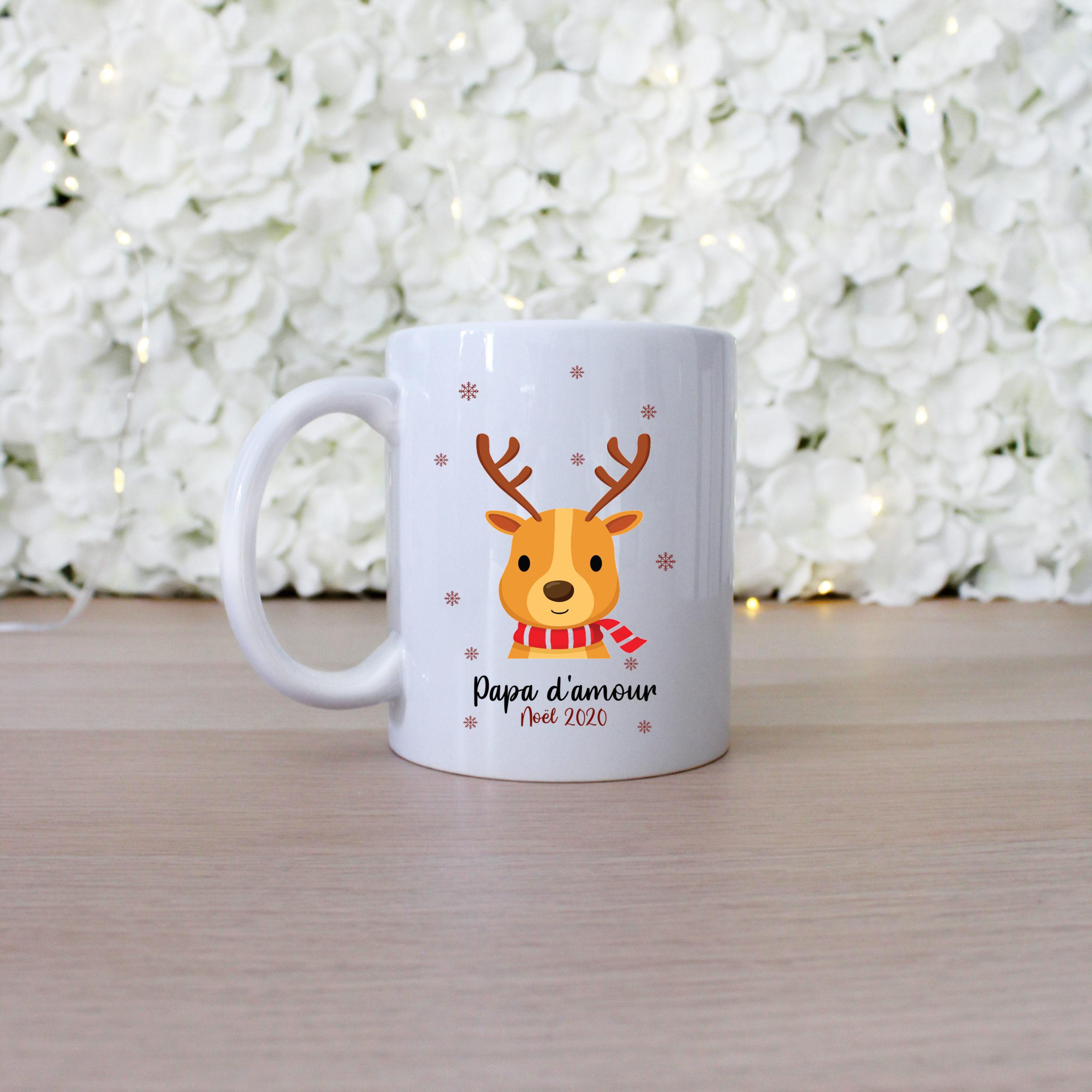 Étonnant Mug personnalisé de Noël motif cerf - Atelier Prunelles ER-59