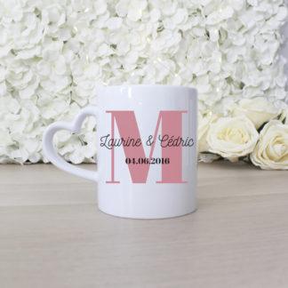 Mug couple personnalisé monogramme
