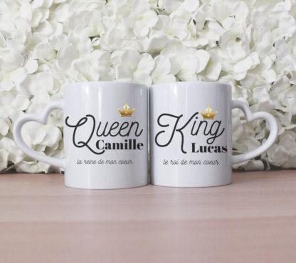 Mug couple personnalisé King Queen