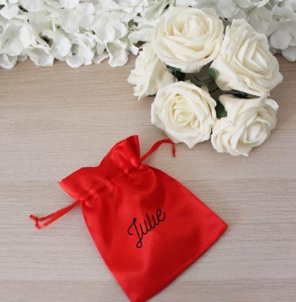 Pochon satin personnalisé cadeau Saint Valentin