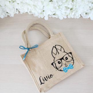 Mini sac jute personnalisé Paques enfant