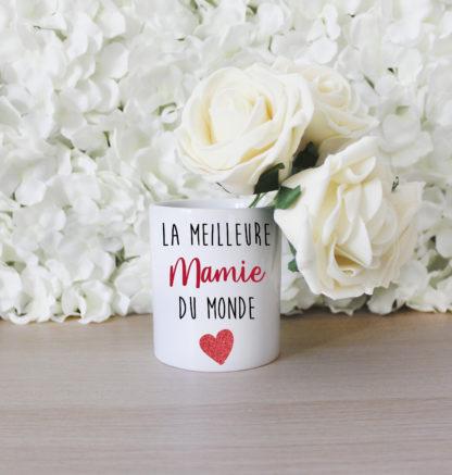Pot fleur personnalisé meilleure mamie du monde