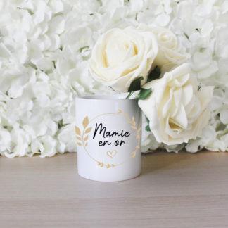 Pot de fleurs personnalisé mamie en or