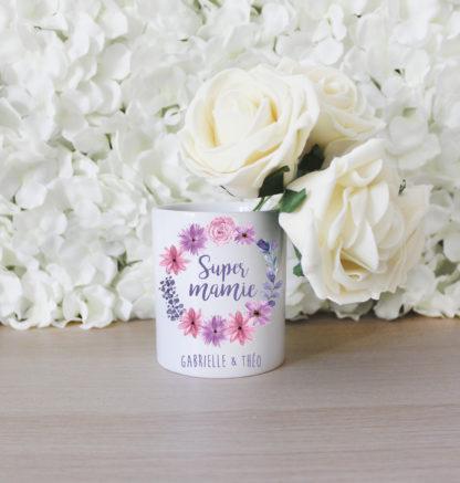 Pot de fleurs personnalisé super mamie