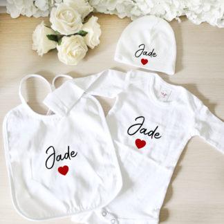 Kit naissance personnalisé body bavoir bonnet