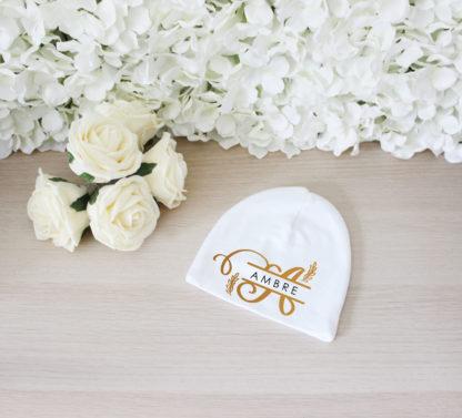 Bonnet naissance personnalisé coton bio cadeau