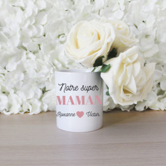 Pot à crayon personnalisé notre super maman cadeau fête des mères